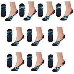 Lot de 10 paires de protège pied femme rayé LITTLE