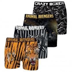 Lot de 4 Boxers Homme en Microfibre Soft Touch Crazy Boxer