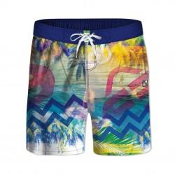 Boardshort long garçon ceinture demi-élastiquée Beach