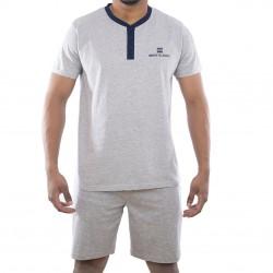 Ensemble homme Pyjama court T-shirt col tunisien