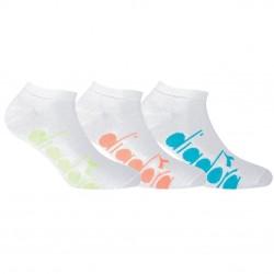 Lot de 3 Paires de Chaussettes Socquettes D1225 femme Sock White Fluo