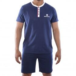 Ensemble homme Pyjama court T-shirt col tunisien Vintage