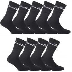 Lot de 9 paires chaussettes Tennis Homme Diadora Noires