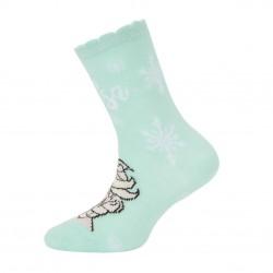 Paire de chaussettes fantaisies brodées fille Frozen Elsa Flocon